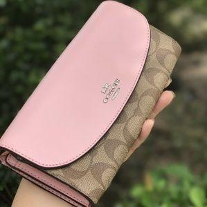 Coach Signature PVC Envelope Wallet Khaki Pink